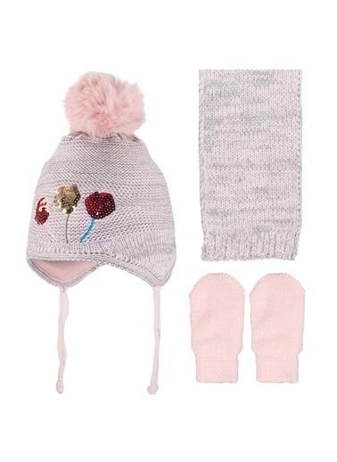 POKY Yeni Sezon Kız Bebek Pullu Lolipop Detaylı 0-18 Ay Kulaklı Ponpon Polar Bere 3'Lü Takım-2900-04 Pembe